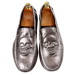 Smiling Skull Head Punk Leather Loafer Driving Shoes Men's