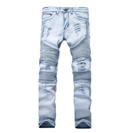 Washed Light Blue Ripped Distressed Rider Biker Denim Jeans Skinny Stretch