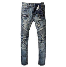 Ripped Holes Pleated Folds Distressed Slim Stretch Denim Biker Jeans