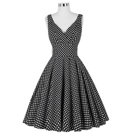 Vintage Retro Pin Up Deep V Neck Polka Dot A Line Rockabilly Swing Dress