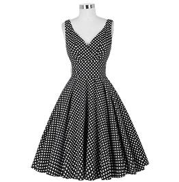 Vintage Retro Pin Up Deep V Neck Polka Dot A Line Rockabilly Swing Dress
