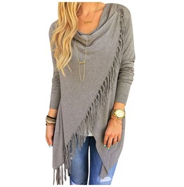 Autumn Tassel Drape Neck Over Size Cardigan Boho Poncho Irregular Hem