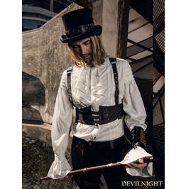 White Steampunk Man Blouse With Detachable Bowtie Spm003 Wi
