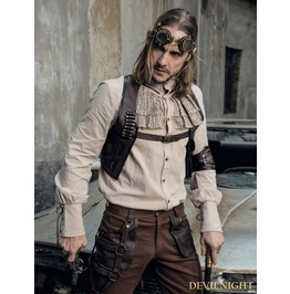 Beige Steampunk Ruffles Blouse For Man Spm008 Bg