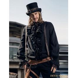 Black Steampunk Man Blouse With Detachable Bowtie Spm011 Bk