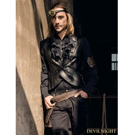 Black Pu Industrial Steampunk Vest For Men Spm018 Bk