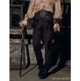 Coffee Steampunk Lace Up Trousers For Men Spm019 Cf