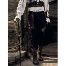 Black Industrial Steampunk Trousers For Men Spm026 Bk