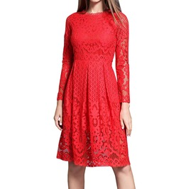 Autumn Bohemian Crochet Women Lace Hollow Out Long Sleeve Dress