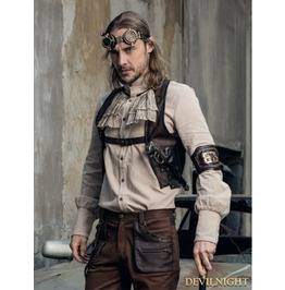 Brown Pu Gear Steampunk Vest For Men Spm033 Cf