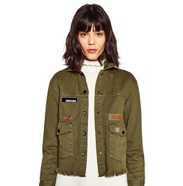 Army Green Military Embroidered Short Design Pocket Women Jacket Tassel Hem