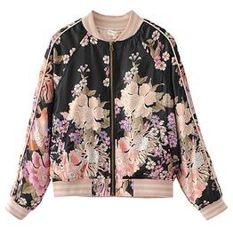 Floral Print Stripe Mandarin Collar Zipper Closure Bomber Jacket Women