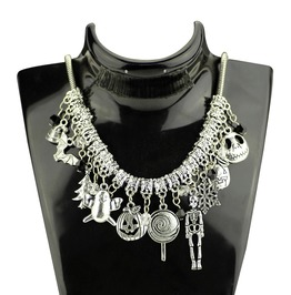 Skull Skeleton Bats Snowflakes Halloween Charms Necklace
