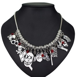 Harley Quinn Pistol Baseball Bat Skull Necklace Women
