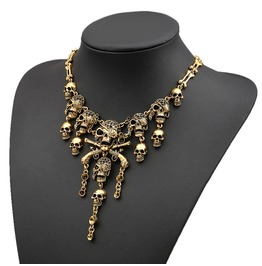 Punk Rock Vintage Pirate Skeleton Skulls Collar Necklace