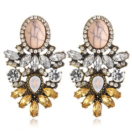 Flower Drop Big Crystal Rhinestones Statement Earrings