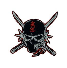 Skull And Katanas Patch Iron On Sew On Martial Arts Tattoo Samurai Ninja