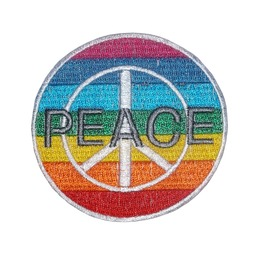 Peace Anti War Hippie Patch Iron On Sew On Embroidered Mc 3.35 Inch