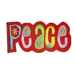 Peace Flower Power Patch Iron On Sew On Embroidered 3.54 / 2.54 Inch