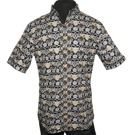 Men's Every Rose Thorn Short Sleeve Dress Shirt Black