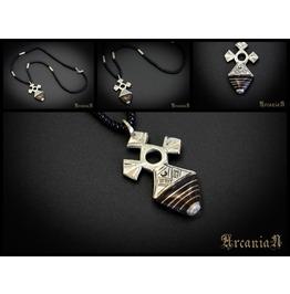 Tuareg Metal Necklace, Wooden Necklace, African Necklace, Cross Pendant