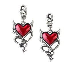 Heavy Metal Gothic Devil Heart Earrings