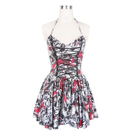 Women's Skull Print Multi Color Halter Dress