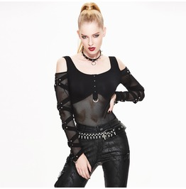 Women's Punk Off Shoulder Mesh Shirt