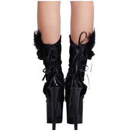Women's Black Velvet Floral Boots