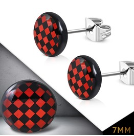 7mm Stainless Steel Red And Black Grid Checker Circle Stud Earrings Pair