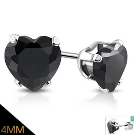 4mm Stainless Steel Prong Set Love Heart Stud Earrings W Jet Black Cz Pair