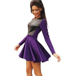 Leather Patched Long Sleeve Skater Dress Purple White Womens