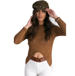 H Igh Low Sweater Womens Brown Grey Top Autumn