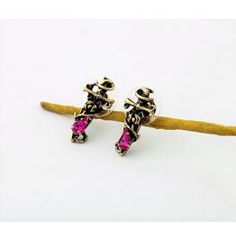 Violetta Cross Antique Bronze Purple Crystal Pirate Rose Stud Earrings