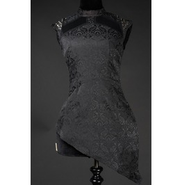 Black Brocade Space Girl Spiked Tunic Shirt Studded Gothic Top $5 To Ship