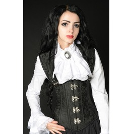 Black Brocade Corset Buckled Straps Full Back Lacing $5 Worldwide Shipping