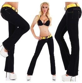 Sexy Women's Low Cut Jeans Hipster Bootcut Black Jeans Pants