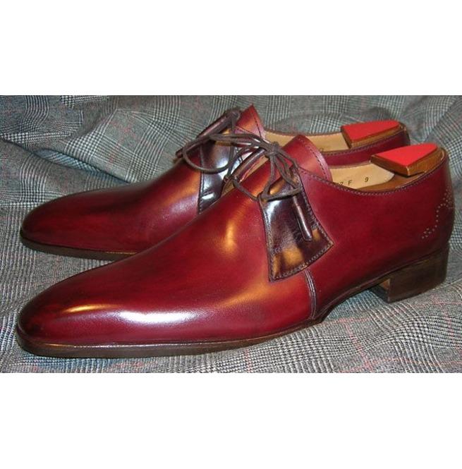 Handmade Men Derby Shoes, Burgundy