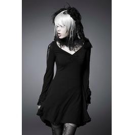 Punk Rave Women's Goth V Neck Stretchy Skinny Mini Dress Pq022
