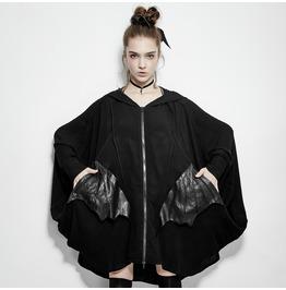 Punk Rave Women's Batwing Sleeve Coat With Bat Modelling Pocket Py178