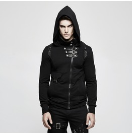 Punk Rave Men's Punk High Collar Front Zipper Slim Fitted Hoodies Y789