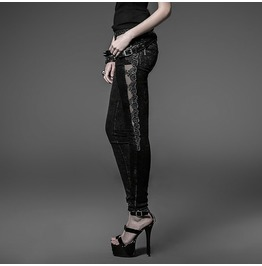 Punk Rave Women's Goth Mesh Floral Embroideried Jeans Pk028