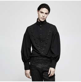 Punk Rave Men's Goth High Collar Long Sleeve Shirt Black Y804