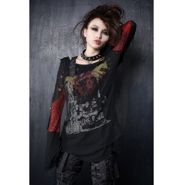 Punk Rave Women's Goth Skull Printed Ripped Double Layered Tops T221