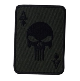 Punisher Ace Patch Iron On Sew On Embroidered Mc 3.35 Inch Skull Poker