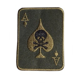 Skull & Bones Ace Player Patch Iron On Sew On Embroidered Mc