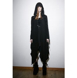 Punk Rave Women's Goth Irregular Hooded Coat With Brooch Py134