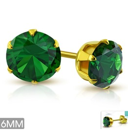 6mm Gold Color Plated Stainless Steel Prong Set Stud Earrings W Emerald Cz