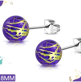 8mm Art Paint Violet Acrylic Bead Ball W Stainless Steel Stud Earrings Pair