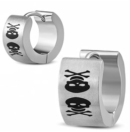 Stainless Steel 2 Tone Pirate Skull Crossbones Laser Print Huggie Earrings